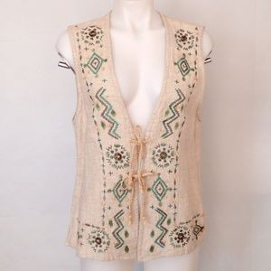 Wood Beaded Embroidered Linen BoHo Hippie Vest